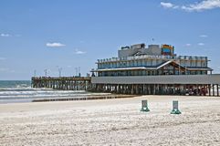 Daytona Beach Pier. A view of the renovated fishing pier after the fresh coat of paint and removal of the mono-rail chair lift at Daytona Beach, Florida on June Royalty Free Stock Photography