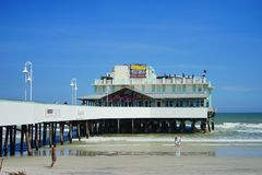Daytona Beach pier. And wave Florida, USA Royalty Free Stock Images