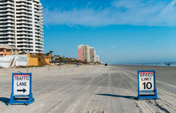 Daytona beach road with car speed limit signs Stock Photography