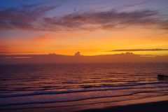 Daytona Beach sun rise. Florida, USA Stock Photos