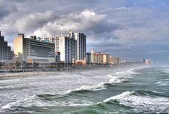 Daytona Beach Surf and Skyline. High dynamic range image of Daytona Beach resort skyline and high surf Royalty Free Stock Images