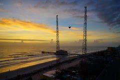 Daytona Beach våg i morgonen Arkivbild