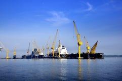 Dayview av den Sembawang skeppsvarven. Royaltyfria Foton