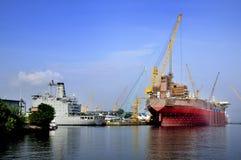 Dayview av den Sembawang skeppsvarven. Arkivfoto