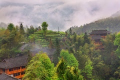 Dazhai Dorf (das Rückgrats-Reis-Terrassen des Drachen). Stockbilder