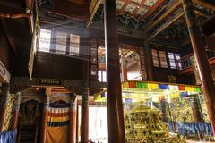 Inside: light streaks shine through window: Beautiful decorated Lamesery, Dazhou Hohhot day Royalty Free Stock Photo
