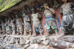 Dazu Bao Ding Mountain Rock Carvings. The Dazu Rock Carvings  are a series of Chinese religious sculptures and carvings, dating back as far as the 7th century A Royalty Free Stock Image