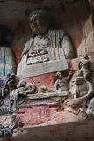 Dazu Bao Ding Mountain Rock Carvings. The Dazu Rock Carvings (Chinese: 大足石刻; pinyin: Dàzú Shíkè) are a series of Chinese religious sculptures and Stock Photography