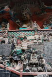 Dazu Bao Ding Mountain Rock Carvings. The Dazu Rock Carvings  are a series of Chinese religious sculptures and carvings, dating back as far as the 7th century A Royalty Free Stock Images