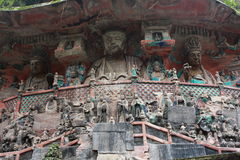 Dazu Bao Ding Mountain Rock Carvings. The Dazu Rock Carvings  are a series of Chinese religious sculptures and carvings, dating back as far as the 7th century A Stock Image