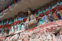 Dazu carvings. Ancient dazu carvings,near Chongqing city of  China. Original carvings date back to 892 AD Royalty Free Stock Photos