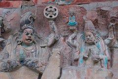 Dazu Felsen Carvings, Chongqing Stockfotos