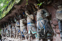Dazu Rock Carvings. The Dazu Rock Carvings (Chinese: 大足石刻; pinyin: Dàzú Shíkè) are a series of Chinese religious sculptures and carvings, dating back royalty free stock photos