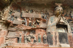 Dazu Rock Carvings. The carving is named Sakyamunis filial piety. It is in Baodingshan carvings, important part of Dazu rock carvings. They was made in Song Stock Images
