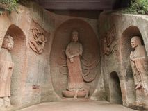 Dazu Rock Carvings. In China Royalty Free Stock Photo