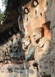 Dazu Rock Carvings in Chongqing. The carvings named as niche of parental love sutra. They are in Baodingshan rock carvings, important one part of Dazu rock Royalty Free Stock Photos