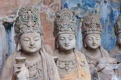 Dazu rock carvings,chongqing,china. Baodingshan temple in Dazu town, Chongqing, China,november 23,2012: Ancient Buddhist Hillside Rock Carvings dating back as Stock Images