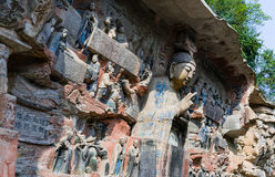 Dazu rock carvings Stock Photos