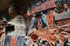 Dazu rock carvings,chongqing,china. The Dazu Rock Carvings are a series of Chinese religious sculptures and carvings, dating back as far as the 7th century A.D Stock Photography