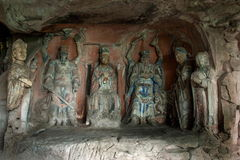 Dazu Rock Carvings in Chongqing Shu diagenetic Cliff Ziwei Great Shrine. 1.93 meters tall niches, 2.80 meters wide, 1.51 meters deep. Are central carved wall Stock Photo