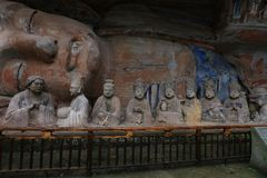 Dazu Rock Carvings. Is the period of tang dynasty, a period of religious moya carved stone, mainly buddhist themes, is outstanding representative in the late Stock Photo