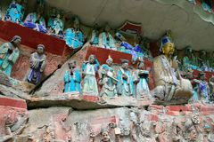 Dazu rock carvings, sichuan, China. Dazu rock carvings in sichuan, China, world cultural heritage, one of the eight caves in the world.It was built between 1174 stock images
