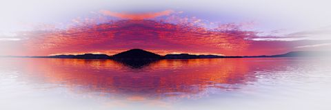 Crimson island seascape fantacy with water reflections. A dazzeling inspirational brightly coloured crimson and white fantacy cloudy sea water tropical Stock Photography