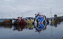 Dazzle camoflage ship Royalty Free Stock Photography