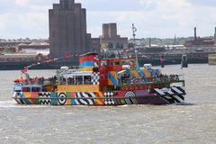 Dazzle Ferry On The River Mersey Stock Photo