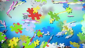 Razzle-Dazzle Puzzles in Air. A dazzling 3d rendering of multicolored puzzles swirling in the light green and light blue air. They are spinning in various Stock Photography