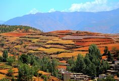 The Dazzling Dongchuan Red Soil Scenic Area. Dongchuan Red Soil Scenic Area is located in a warm and humid environment. Iron in the soil is slowly deposited by royalty free stock photos