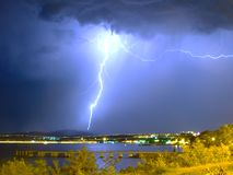 Huge lightning in the storm near the sea royalty free stock photography