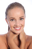 Dazzling smile by beautiful happy young woman stock photography