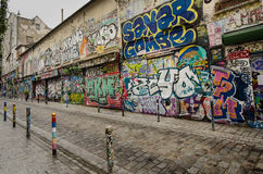 Dazzling street art on Rue Denoyez in Paris Royalty Free Stock Photo