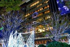 2018 Winter Illumination at Hakata Station, Fukuoka. Dazzling themed winter illumination light sculpture at JR Hakata Station. Named Hikari no Machi Hakata stock photos