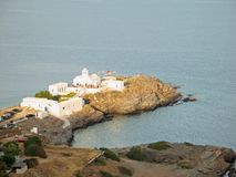 Dazzling-White Church Against the Aegean Deep-Blue Stock Photos