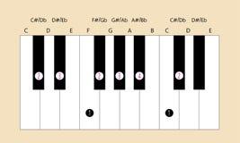 Db belangrijke schaalvingertechniek voor piano Royalty-vrije Stock Foto's