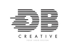 DB D B Zebra Letter Logo Design with Black and White Stripes. Vector stock illustration