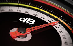 DB, Decibel level. Decibel measurement. Gauge with green needle pointing 105 dB, concept of noise level stock illustration