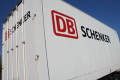 DB Schenker trailer. A DB Schenker trailer on a street in Dietzenbach. DB Schenker is part of the Deutsche Bahn AG Royalty Free Stock Image