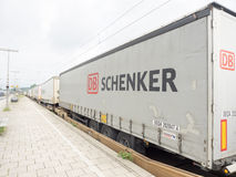 DB Schenker. Trailers on a freighttrain with copy space Royalty Free Stock Photos