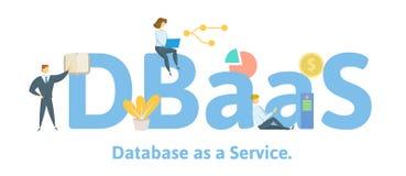 DBaaS,数据库作为服务 与主题词、信件和象的概念 平的传染媒介例证 查出在白色 库存例证