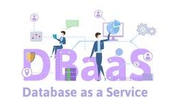 DBaaS, baza danych jako usługa Pojęcie stół z słowami kluczowymi, listami i ikonami, Barwiona płaska wektorowa ilustracja na biel Obraz Royalty Free