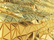 回报美好的发光的金黄三角几何的3D设计bac 图库摄影