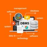 Dbms van de het systeemcomputer van het gegevensbestandbeheer van het de gegevenssymbool vector de illustratieconcept Royalty-vrije Stock Afbeeldingen
