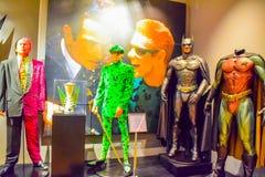 DC字符马弁装饰蝙蝠侠设置名人,字符蝙蝠侠,轻的马弁,蝙蝠侠飞机,服装蝙蝠侠,蝙蝠侠bik 免版税库存照片