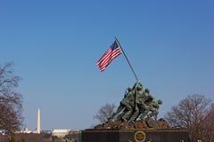 DC ВАШИНГТОНА, †«21-ое марта 2015 США: Военный мемориал морской пехот на заходе солнца 21-ого марта 2015 в DC Вашингтона Стоковые Фото