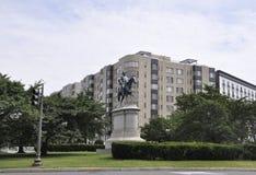 DC Вашингтона, 4-ое июля 2017: Общая статуя w Скотта конноспортивная от центра города округа Колумбия США Вашингтона Стоковое Изображение