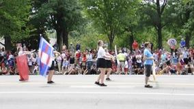 DC Вашингтона, 4-ое июля 2017: Парад для парада 4-ое июля от округа Колумбия США Вашингтона сток-видео