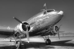 DC-3 In Black And White. This DC-3 was parked at an airport - I was glad I had my camera with me Stock Photography